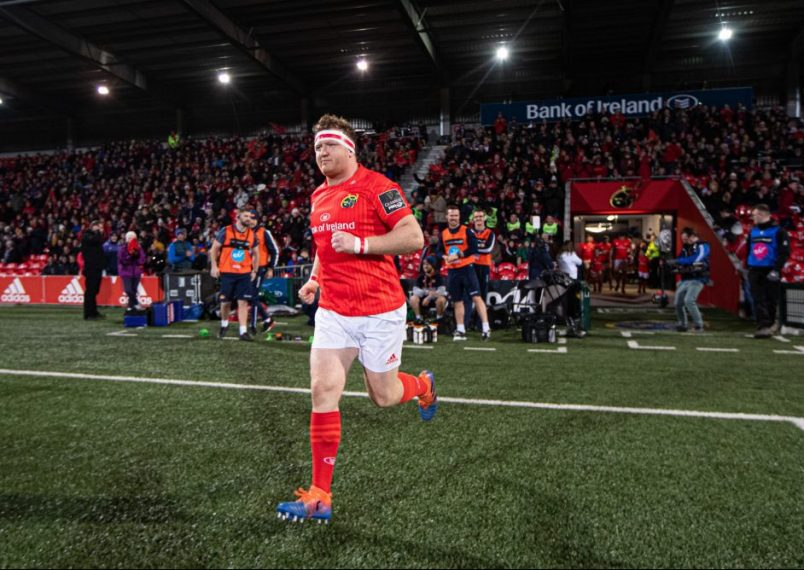 Stephen Archer leads Munster out on his 200th appearance in November 2019.