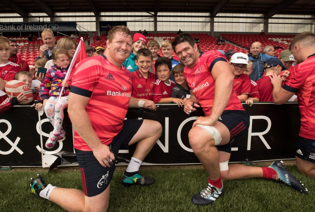 Stephen Archer and Billy Holland with fans at the Open Training Session at Irish Independent Par in August.