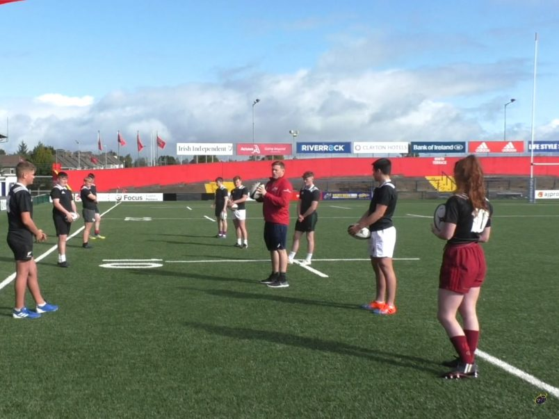 Denis Fogarty delivering a lineout throwing workshop last year.