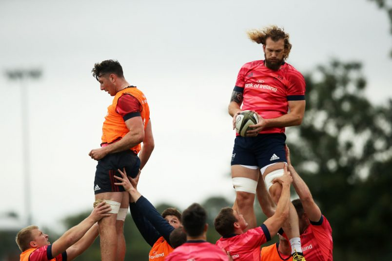 Academy lock Thomas Ahern and RG Snyman in lineout action.