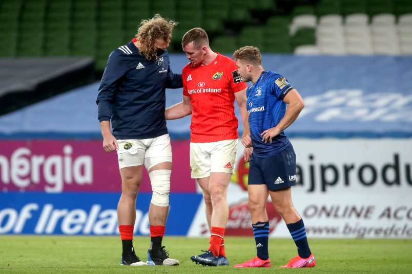 RG Snyman with his knee strapped following Saturday night