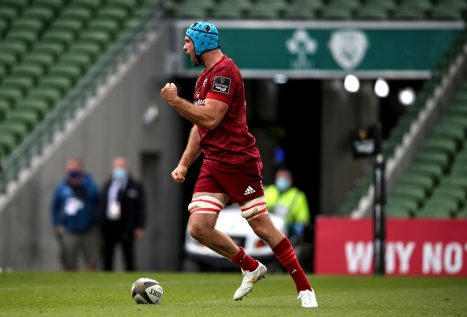 Tadhg Beirne celebrates his try on a Man of the Match performance.