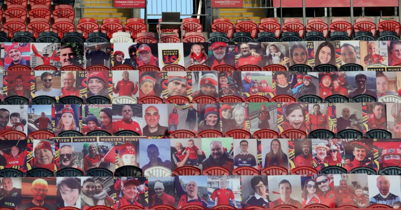A view of the cardboard cut-outs at Thomond Park on Saturday.