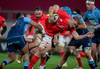 Gavin Coombes on the charge.