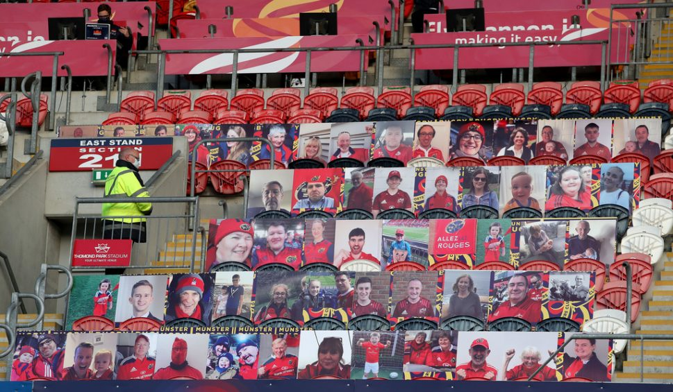 A view of the fan portraits at Thomond Park.