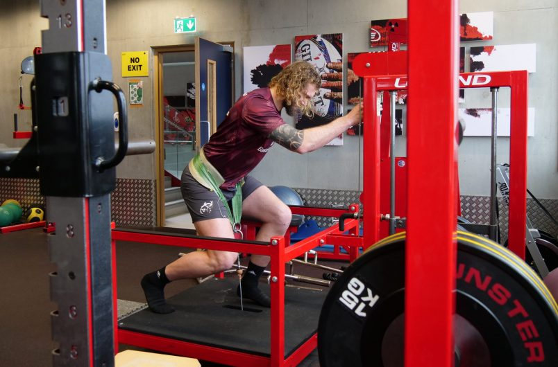RG Snyman at the gym in Munster Rugby