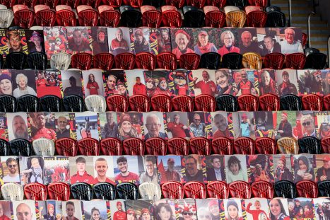 Some of the Be There portraits at Thomond Park.