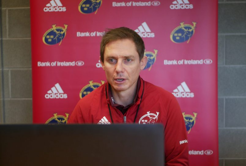 Stephen Larkham speaking to the media from the HPC this week.