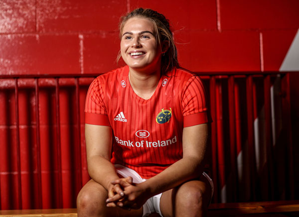Dorothy Wall in the women's-fit Munster home jersey, which is now available at half-price.