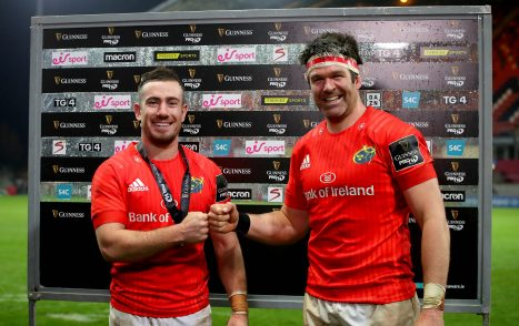 Guinness Player of the Match JJ Hanrahan with Billy Holland.