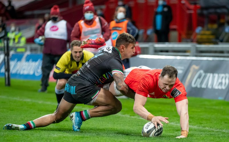 Seán French dives over to score his first Munster try.