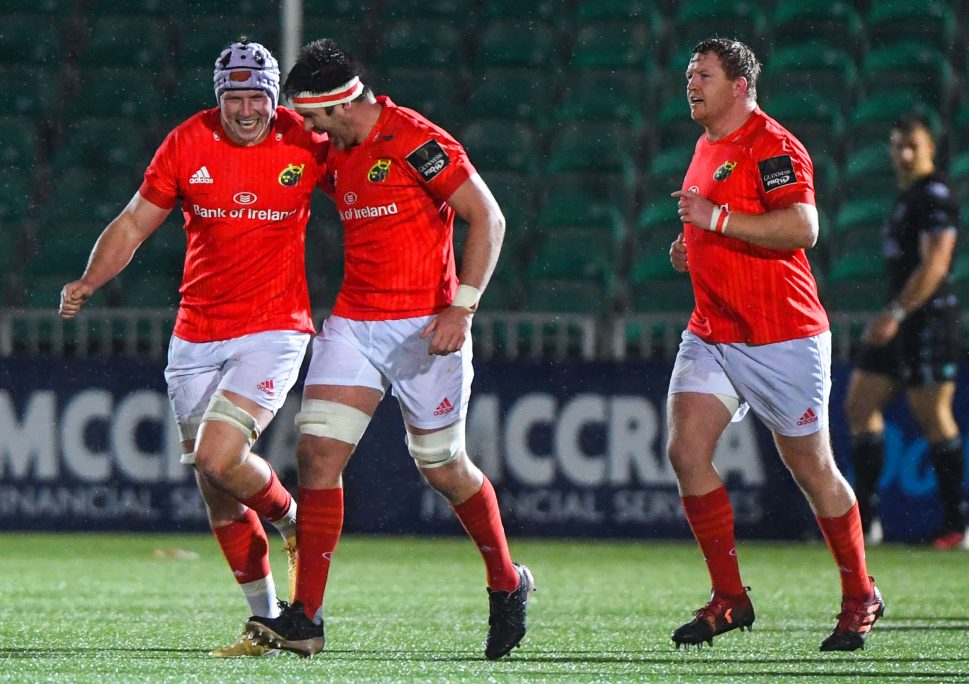 Fineen Wycherley celebrates with Billy Holland during Munster