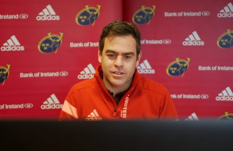 Munster Head Coach Johann van Graan speaking to the media remotely this week.