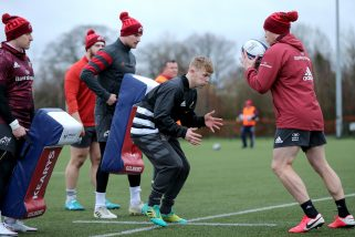 Ethan Coughlan (centre) at Munster training last month.