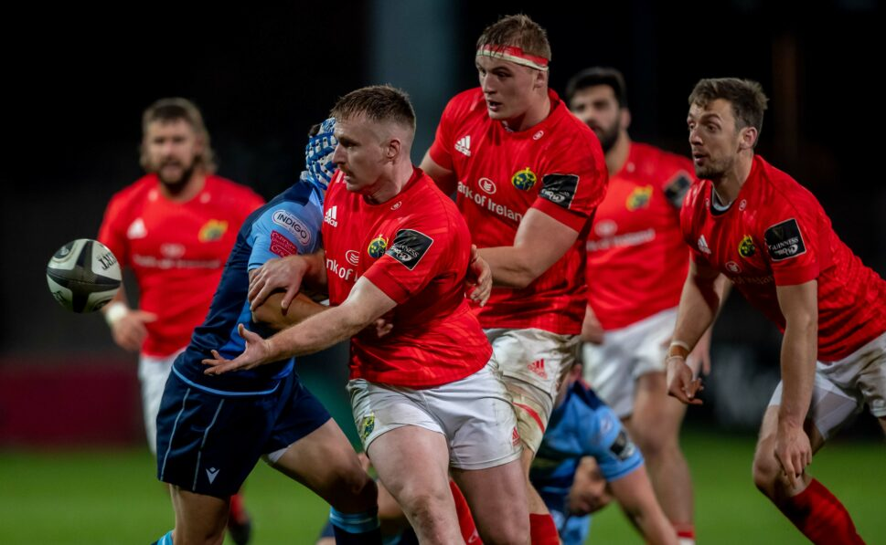 Rory Scannell in action against Cardiff earlier his season, Munster travel to Wales on Friday.