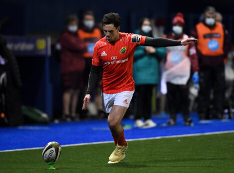 Joey Carbery kicks a conversion on his return to action.