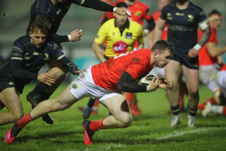 Chris Farrell dives over to score in Munster