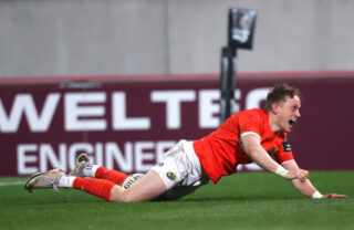 Mike Haley celebrates his wonder try.