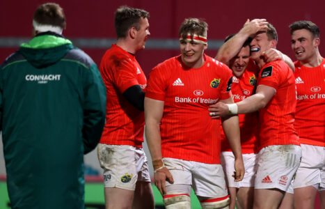 Chris Farrell, Gavin Coombes, Andrew Conway and Shane Daly celebrate with Mike Haley.