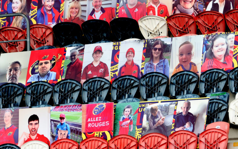 A view of fan portraits at Thomond Park.