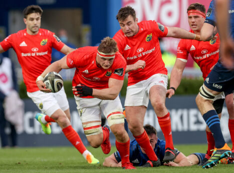 Gavin Coombes on the charge against Leinster.