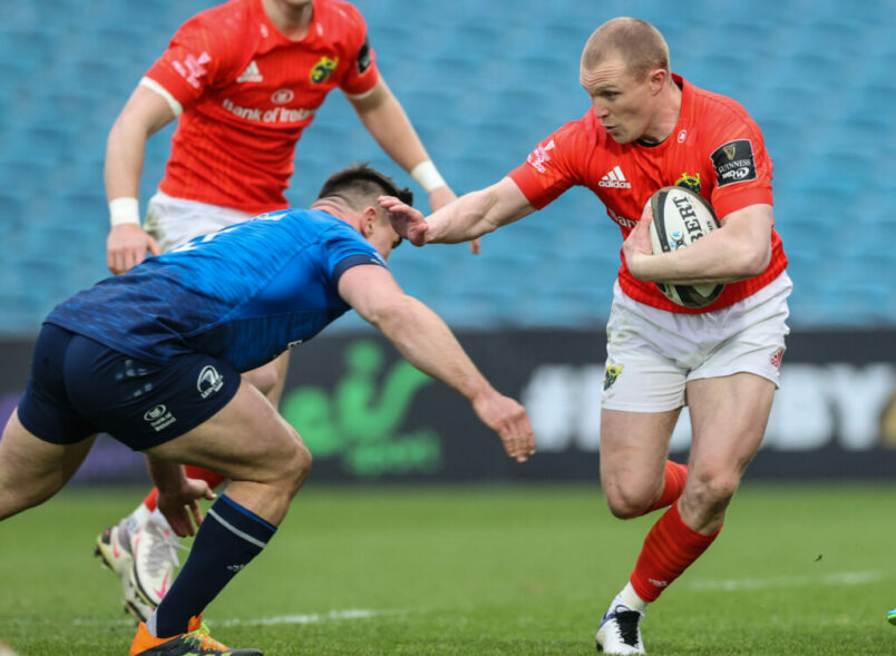 Keith Earls in action against Leinster.