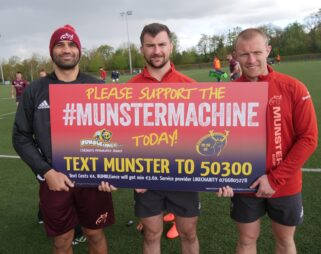Munster players Damian de Allende, Diarmuid Barron and Keith Earls supporting BUMBLEance and the Munster Machine.