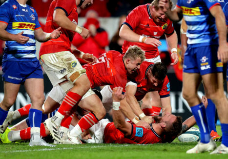 Munster players celebrate with RG Snyman after he scored his first Munster try.