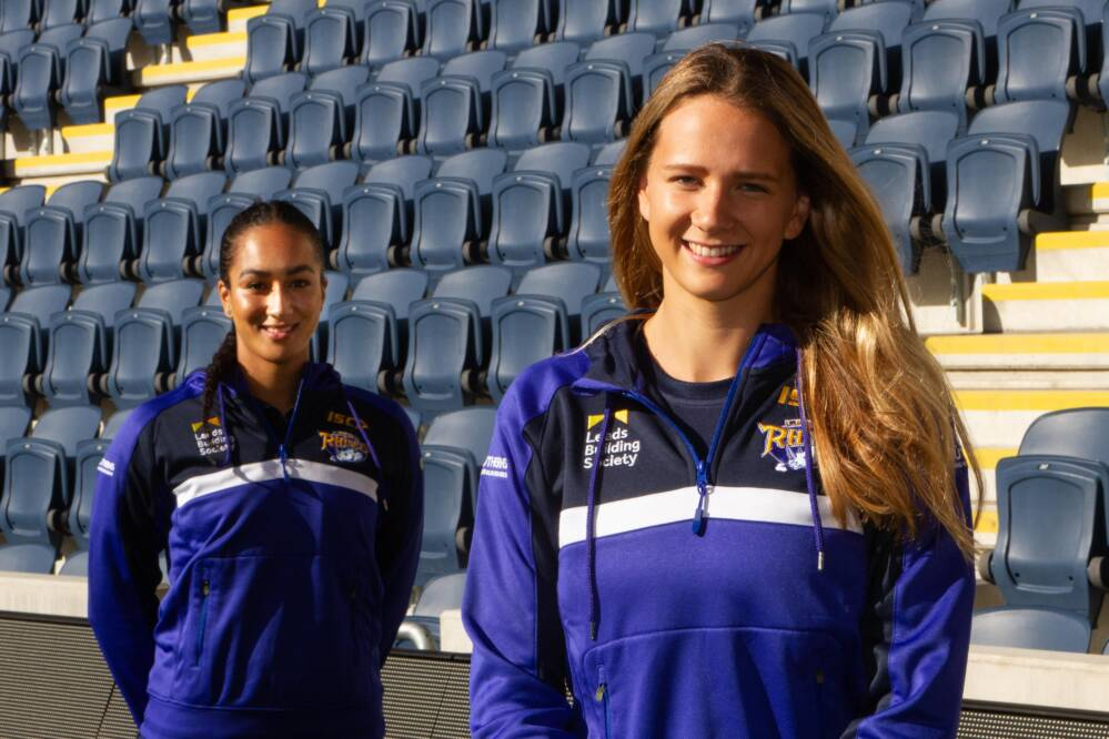Brie Grierson and Rosie Harris of Leeds Rhinos Netball.