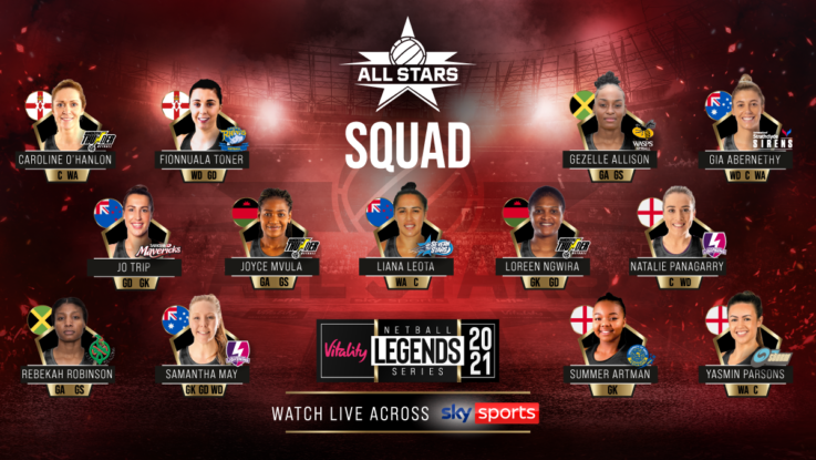 The Vitality Netball Superleague All Stars squad for the Vitality Netball Legends Series.