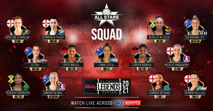 The Vitality Netball Superleague All Stars squad for the Vitality Netball Legends Series.