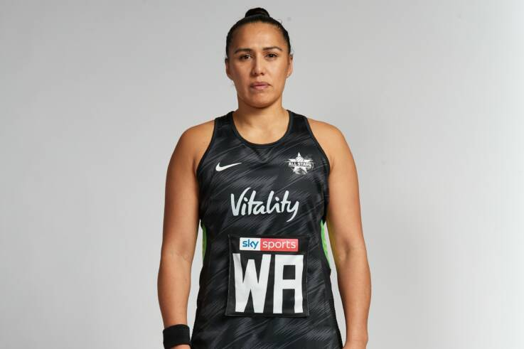 Liana Leota of the international Vitality Netball Superleague All Stars.
