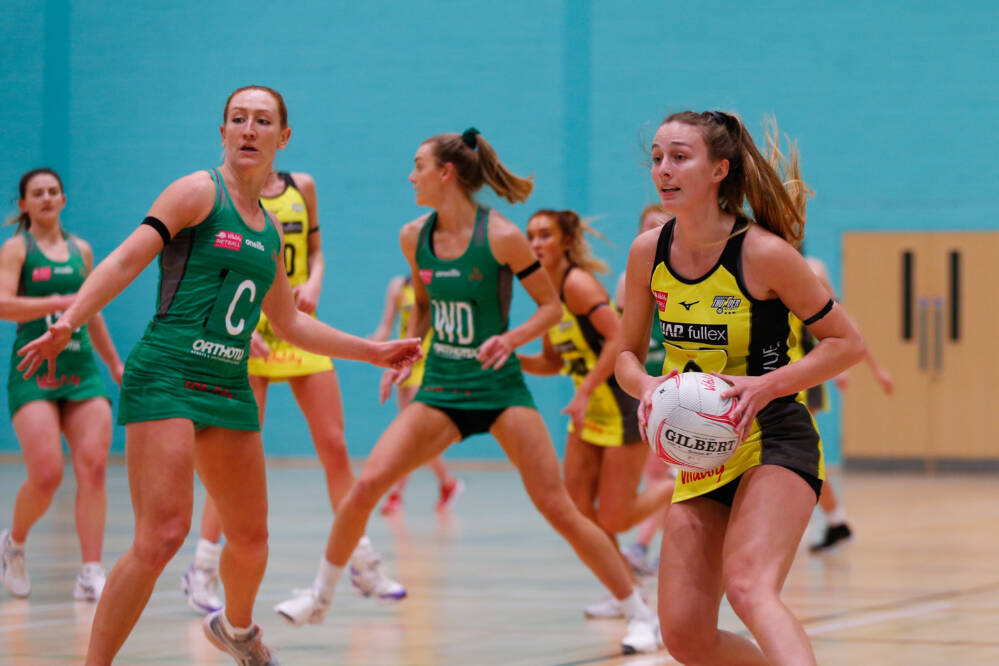 Amy Carter of Manchester Thunder taking on Celtic Dragons in a pre-season friendly.