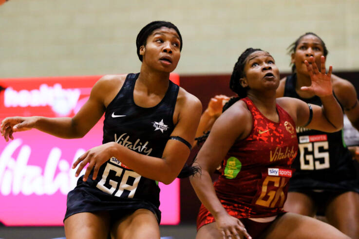 Rebekah Robinson of the Vitality Netball Superleague All Stars and Razia Quashie in game one of the Vitality Netball Legends Series.