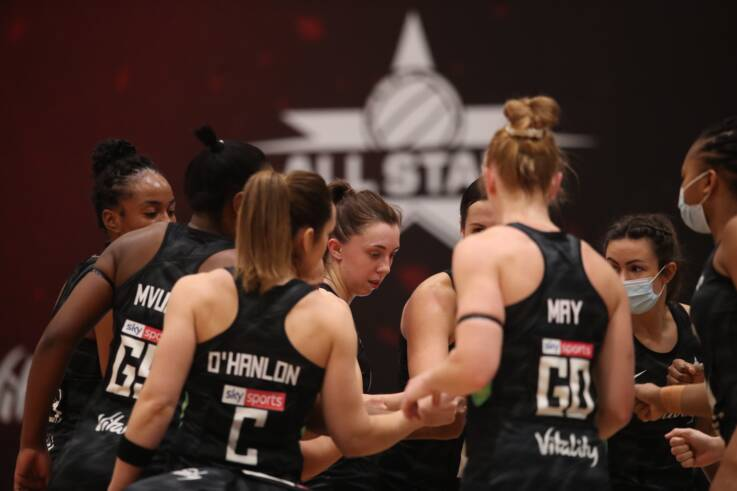 Fi Toner of the Vitality Netball Superleague All Stars in their final defeat to the Vitality Roses.