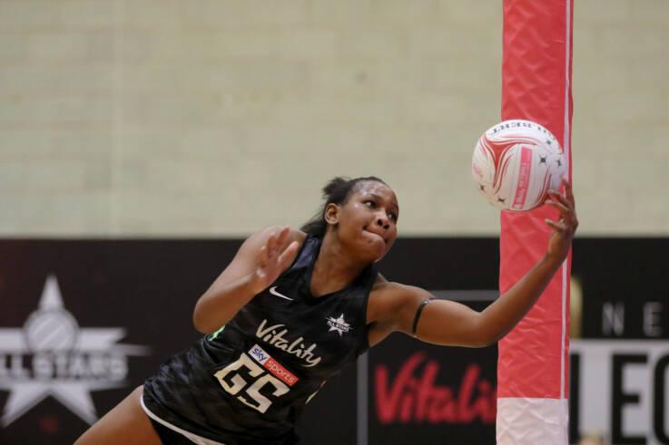 Joyce Mvula of the Vitality Netball Superleague All Stars. Source | Ben Lumely.
