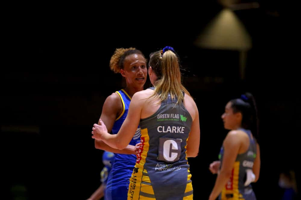 Serena Guthrie and Jade Clarke of the Vitality Netball Superleague and the Vitality Roses.
