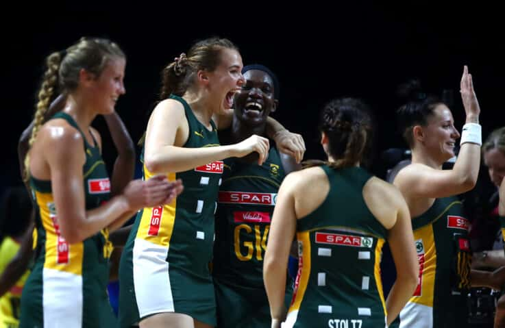 Sigrid Burger of South Africa celebrates after winning the preliminaries stage two schedule match between South Africa and Uganda.