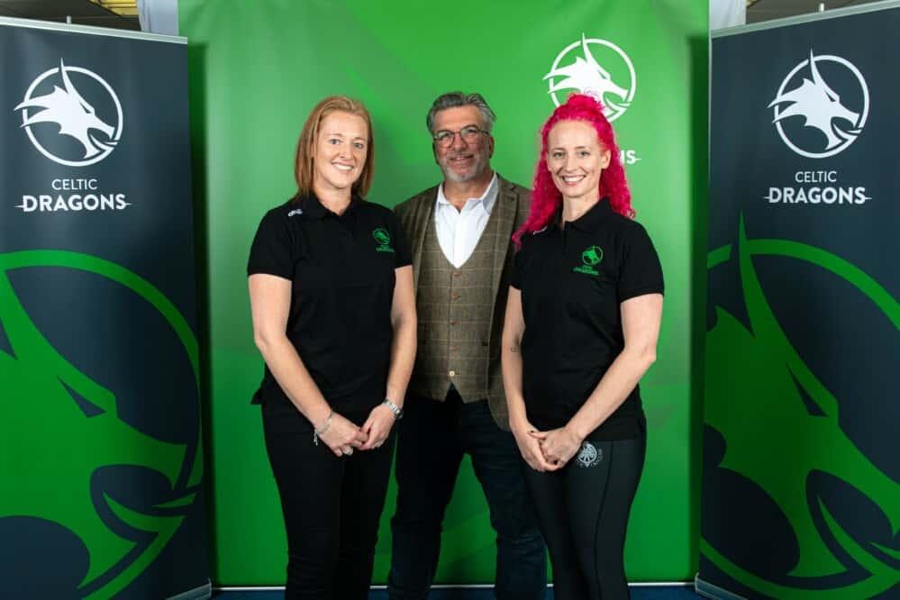 Sarah Jones (Wales Netball CEO), Chris Bennett (Creative Director of DNA) and Danielle Titmuss (Celtic Dragons Head Coach)