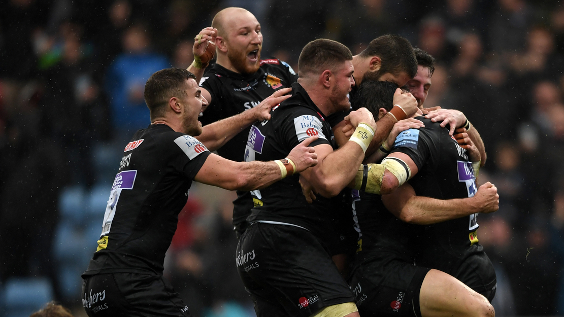 Exeter Chiefs players celebrate