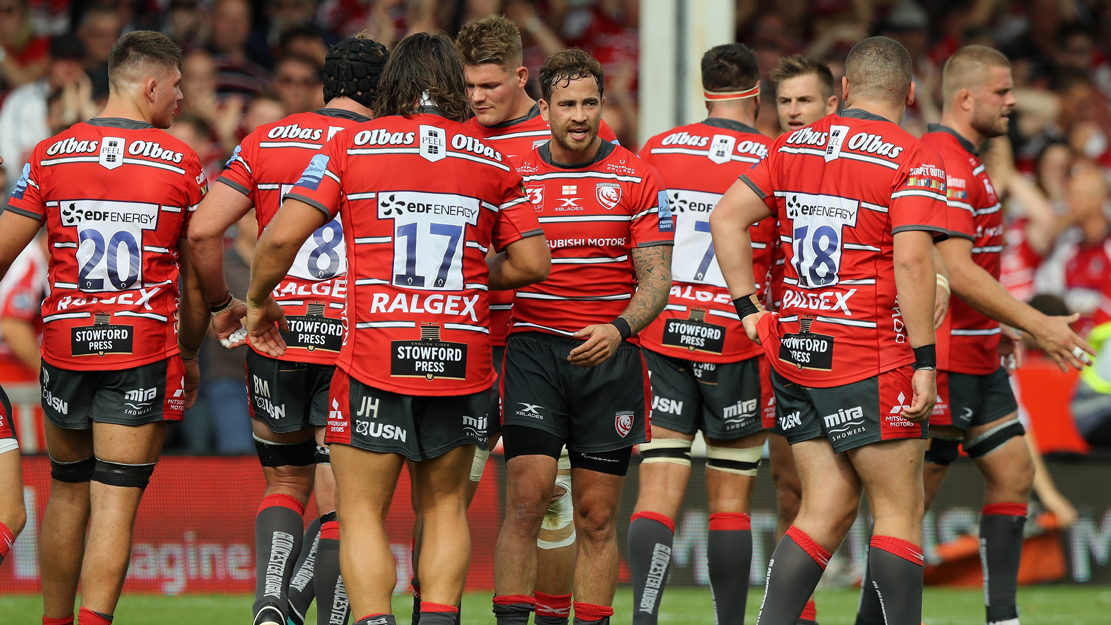 Gloucester Rugby players celebrate