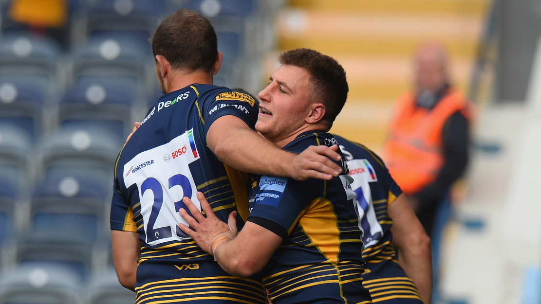 Worcester Warriors players celebrate