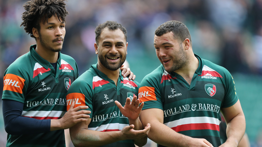 Leicester Tigers players celebrate