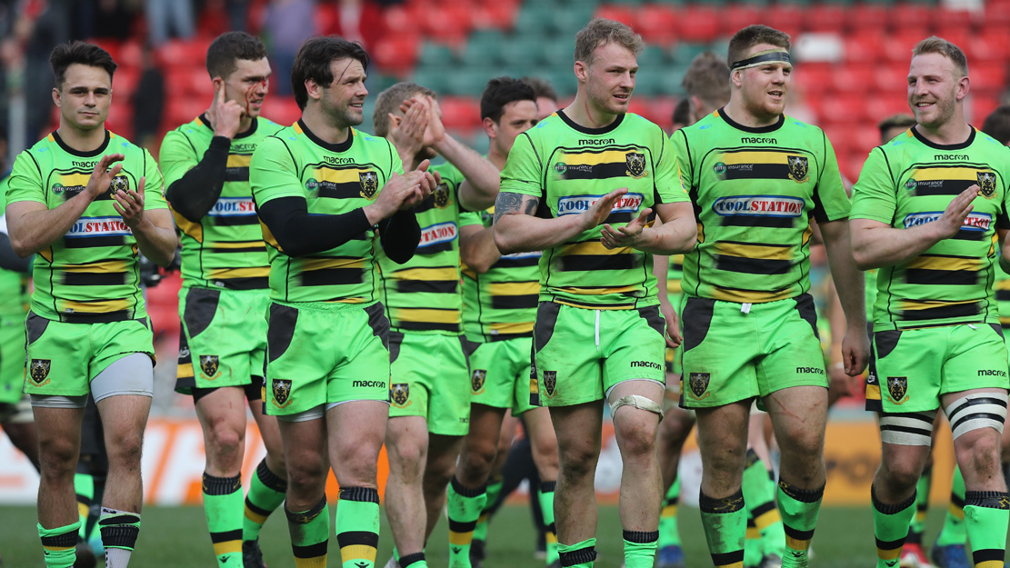 Northampton Saints players celebrate