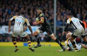 EXETER, ENGLAND - MAY 21:  Don Armand of Exeter Chiefs during the Aviva Premiership semi final match between Exeter Chiefs and Wasps at Sandy Park on May 21, 2016 in Exeter, England.  (Photo by Tony Marshall/Getty Images)