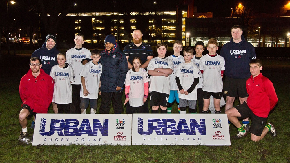 Kyle Eastmond and Ross Batty show support for Urban Rugby Squad