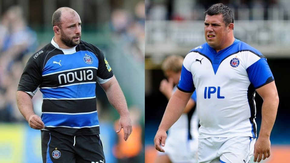 Duncan Bell takes on David Flatman in touch rugby match at the Rec