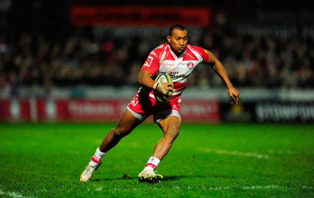 GLOUCESTER, ENGLAND - JANUARY 09:  David Halaifonua of Gloucester in action during the Aviva Premiership match between Gloucester Rugby and Saracens at Kingsholm Stadium on January 9, 2015 in Gloucester, England.  (Photo by Stu Forster/Getty Images)