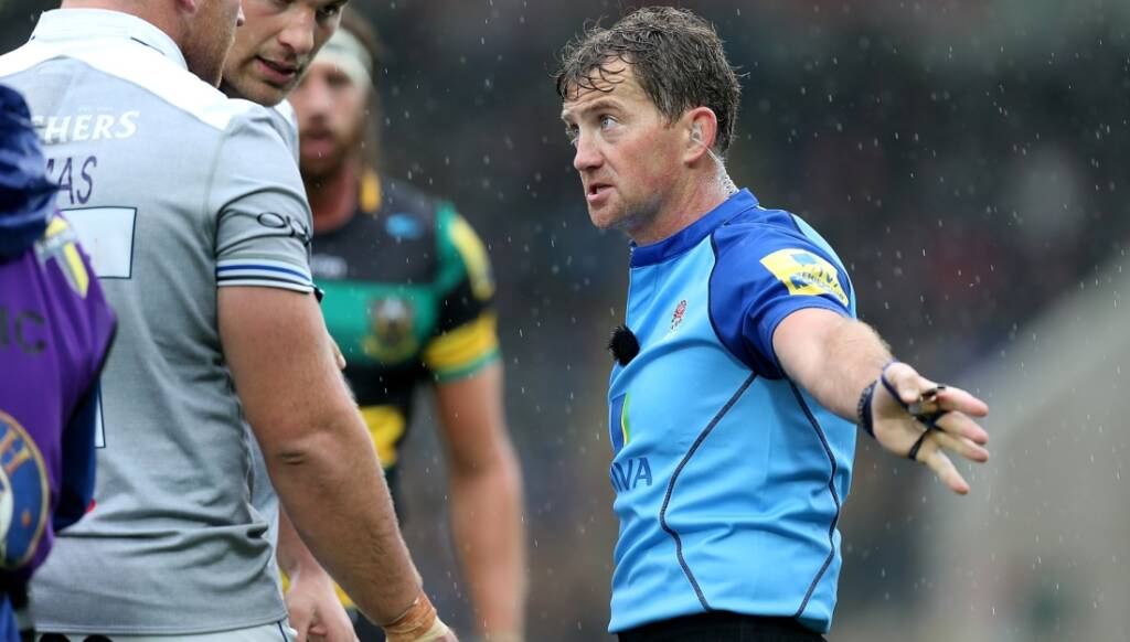 JP Doyle taking charge in the Aviva Premiership Rugby match between Northampton Saints and Bath Rugby