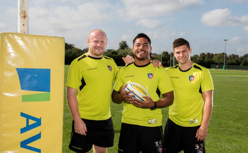 Leicester Tigers, Dan Cole, Manu Tuilagi and Ben Young pose during the Aviva Community Fund Player Appearance at Oval Training Ground, Leicester, England on Wednesday 7th of September 2016 - Photo Mandatory credit: Phil Mingo/Pinnacle/Aviva - Tel: +44(0)1363 881025 - Mobile:0797 1270 681  - Sport - Rugby Union - RIGHTS FREE IMAGES